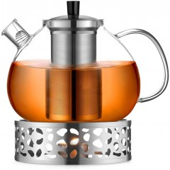 ecooe Original 2000ml teapot glass borosilicate glass tea maker with 18/10 stainless steel warmer Removable strainer rust-free heat-resistant for black tea green tea fruit tea scented tea and tea bags