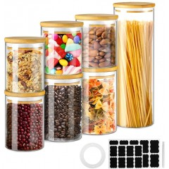 Glastal storage jars set of 7 (total 6.5L) Large glass containers for kitchen food storage, storage jars set made of borosilicate glass with bamboo lid, for flour, oat flakes, BPA free glass