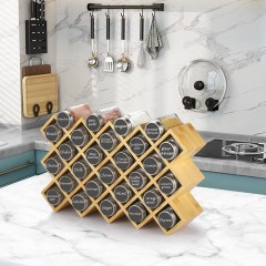 ecooe bamboo spice rack spice stand for kitchen cupboard and work surface made of 27 spice jars and label jars with stainless steel 304