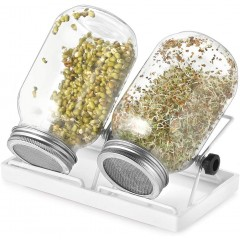 ecooe sprout sprouting jar Set of 2 sprouting jars for sprouting glass Sprouting jar with 1 water bowl, 2 filter grille covers made of stainless steel 304 and 2 stands