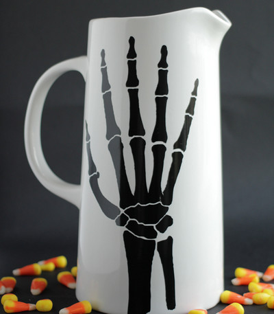 Halloween skeleton hand pitcher