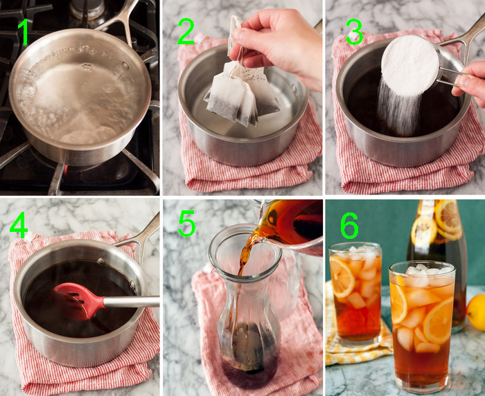 steps on how yo make sweet tea