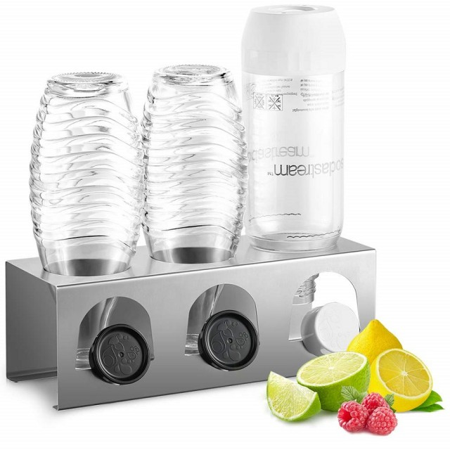 ecooe Stainless Steel Draining Rack for SodaStream and Emil Bottles Drainers for 3 Bottles and 3 Lids Dishwasher Safe