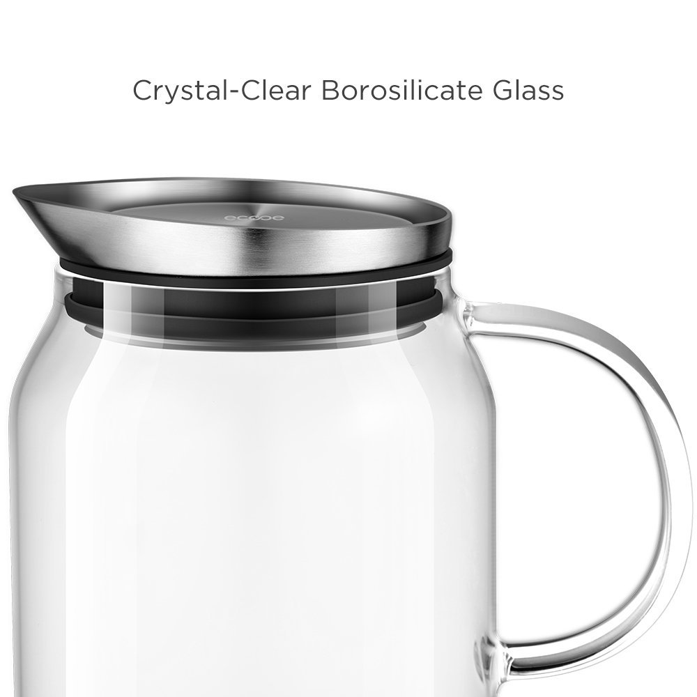Ecooe 44 Oz Glass Water Pitcher With Built In Filter Lid